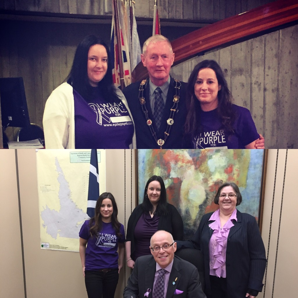 Top: His Worship Mayor Dennis O'Keefe of St. John's with Purple Day Ambassador Christine Facey and Community Information Officer Gina Hartmann at the signing of the 2016 Purple Day Proclamation Bottom: The Honourable Dr. John Haggie with CIO Gina Hartmann, Ambassador Christine Facey and Executive Director Gail Dempsey signing the porvince's Purple Day Proclamation.